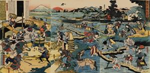 豊年満作の浮世絵背景